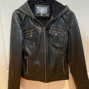 Black Faux Leather Hooded Jacket, Size Small